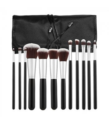 Picture of  TOOLS FOR BEAUTY SET OF 12 MAKE-UP BRUSHES - BLACK