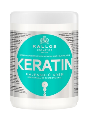 Picture of Kallos Hair Mask with Keratin and Milk protein for dry, damaged and chemically treated hair. 1000ml.